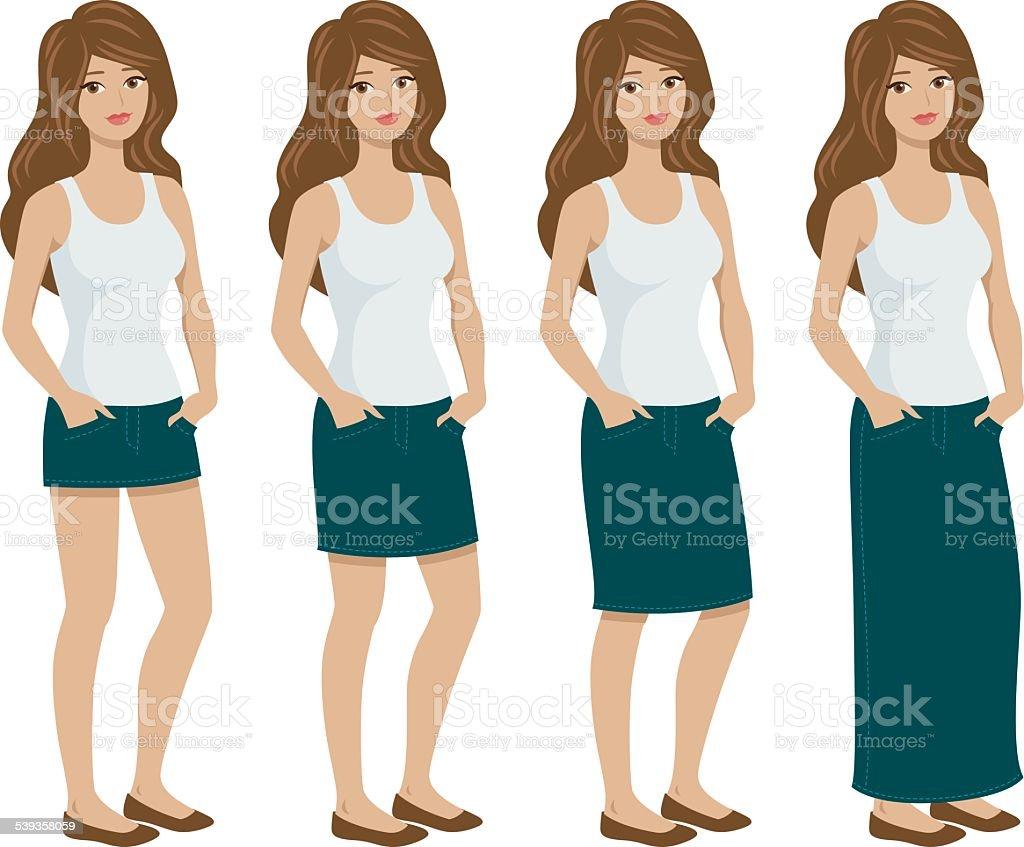 Different Jean Skirt Fit Styles on Women vector art illustration