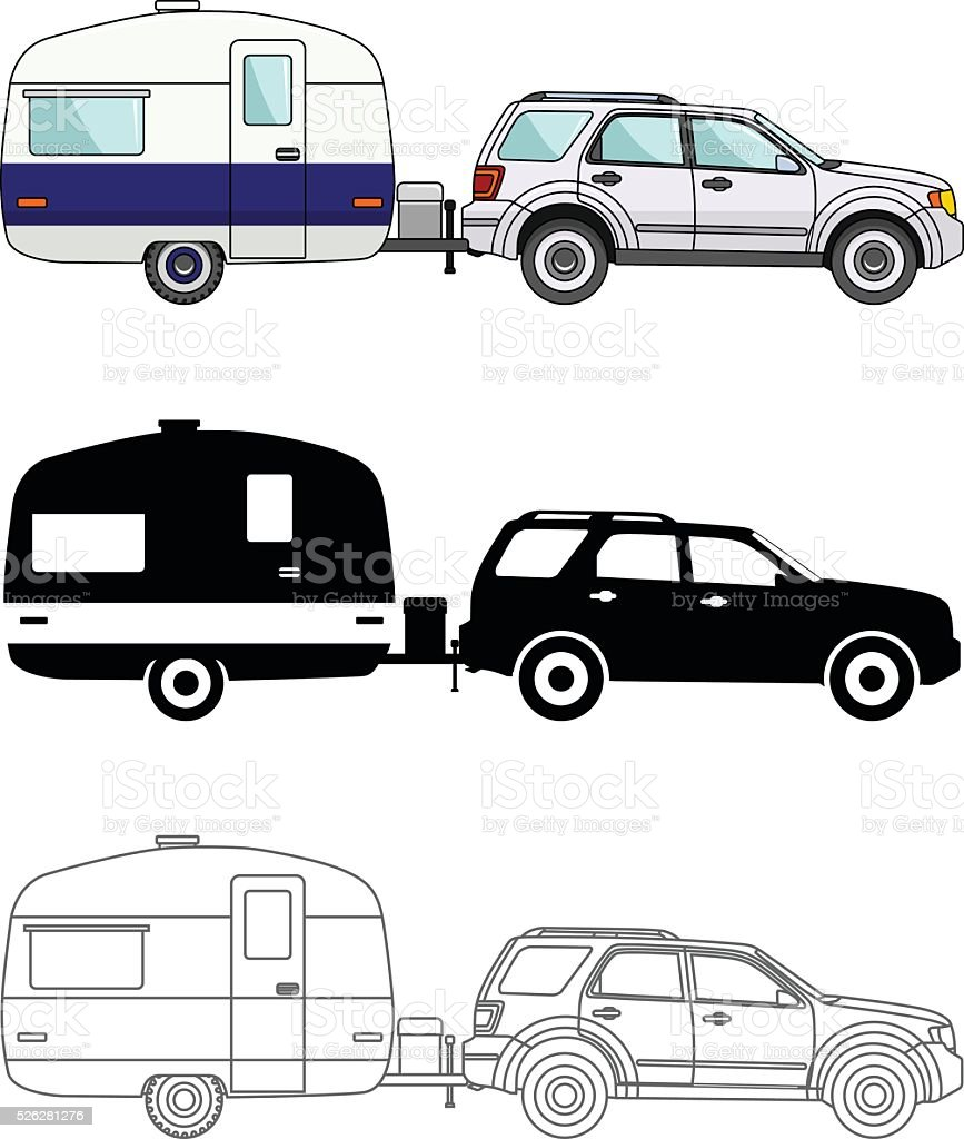 Different kind car and travel trailers isolated on white background. vector art illustration