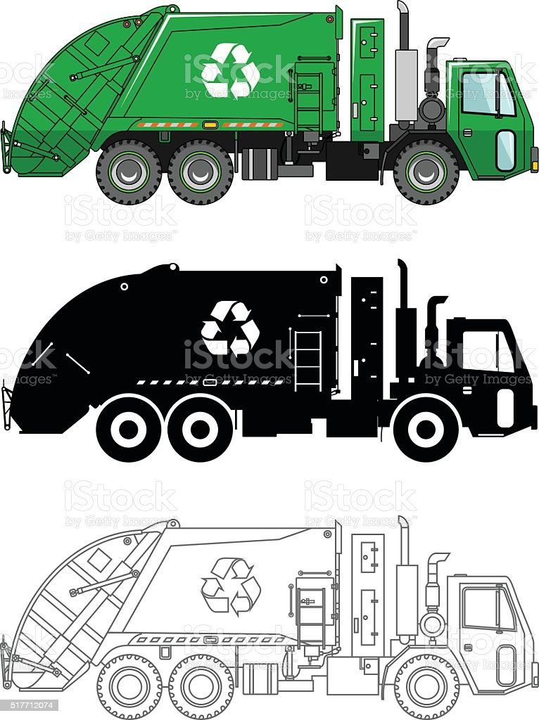 Different kind garbage trucks isolated on white background. vector art illustration