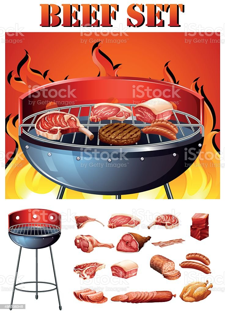 Different kind  meat  grill vector art illustration