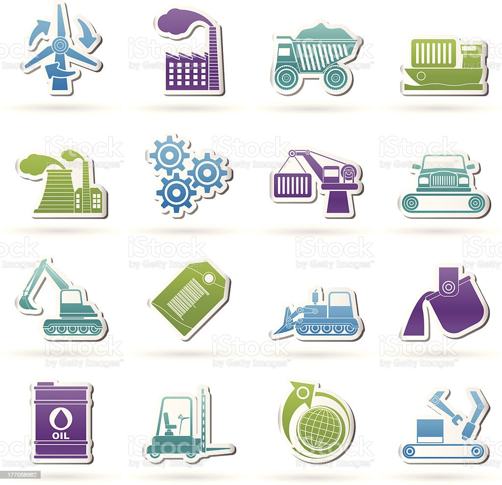 different kind of business and industry icons royalty-free stock vector art