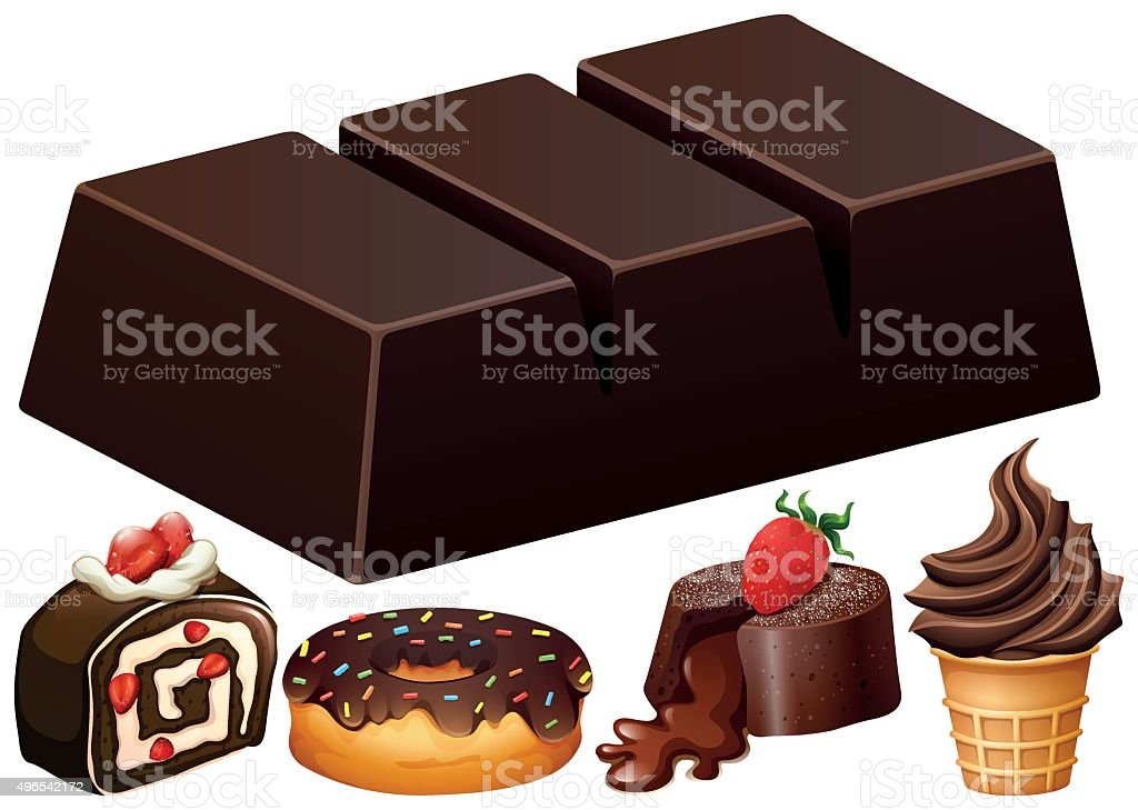 Different kind of chocolate dessert vector art illustration