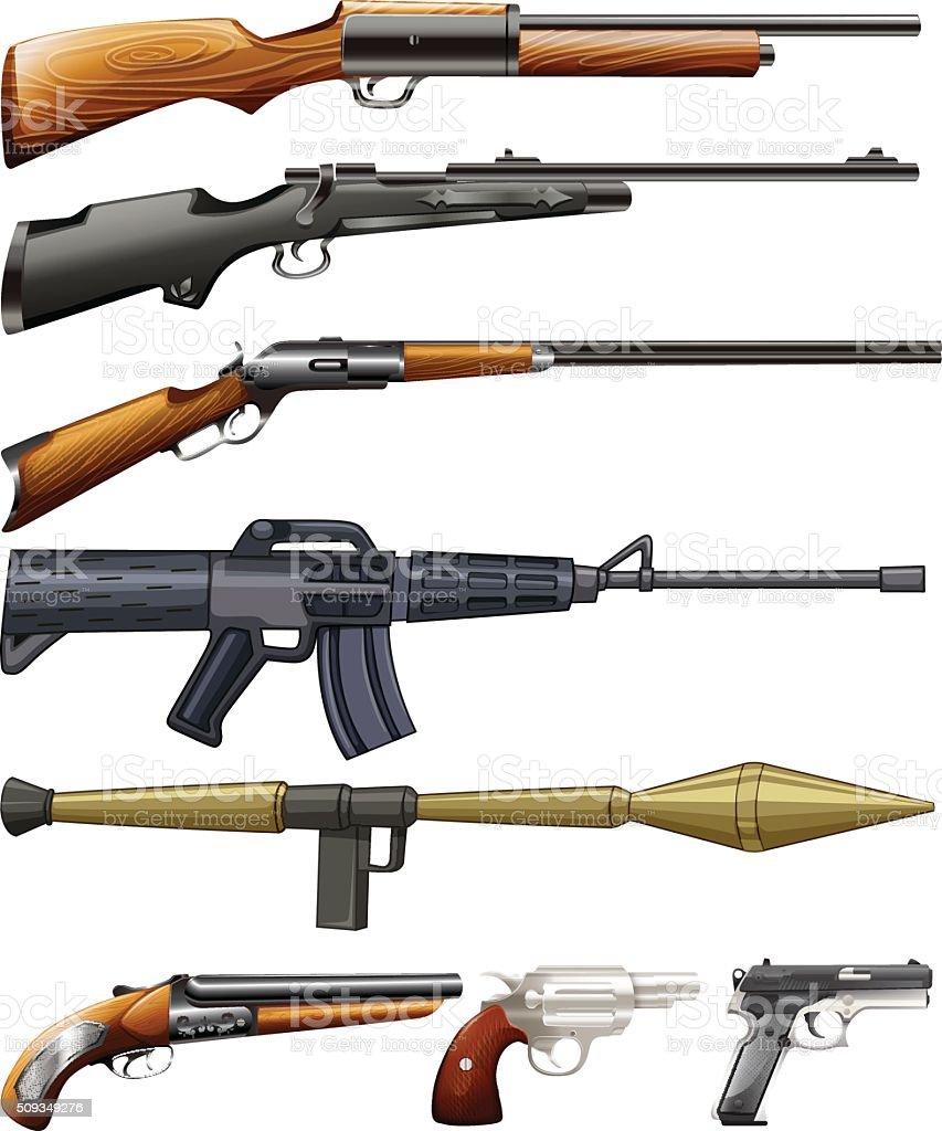 Different kind of fireguns vector art illustration