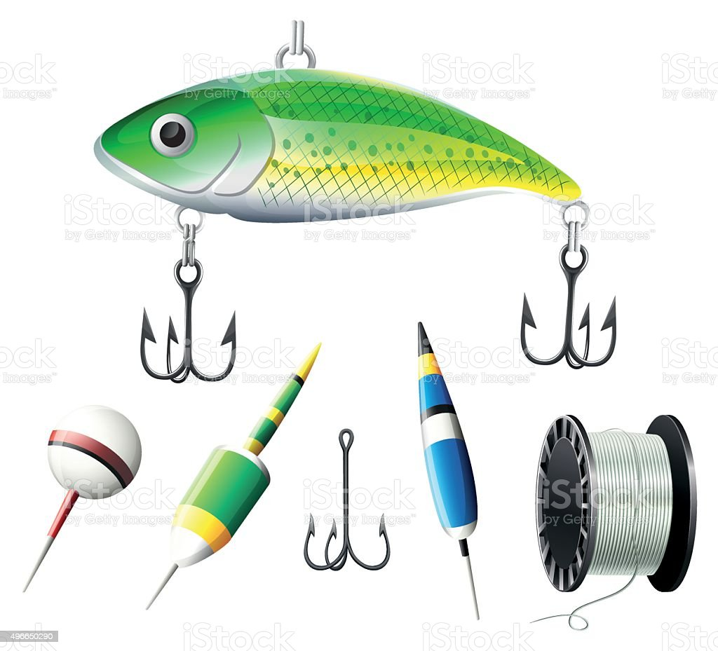 Different kind of fishing equipments vector art illustration
