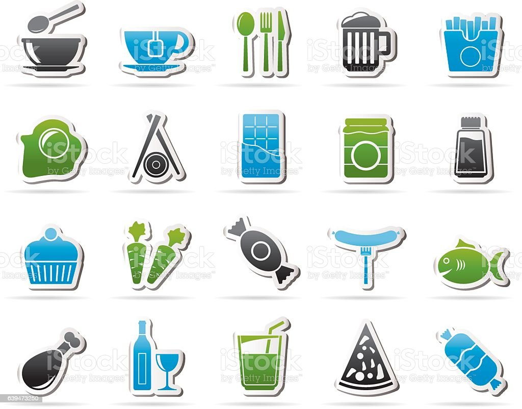 Different kind of food and drinks icons 1 vector art illustration