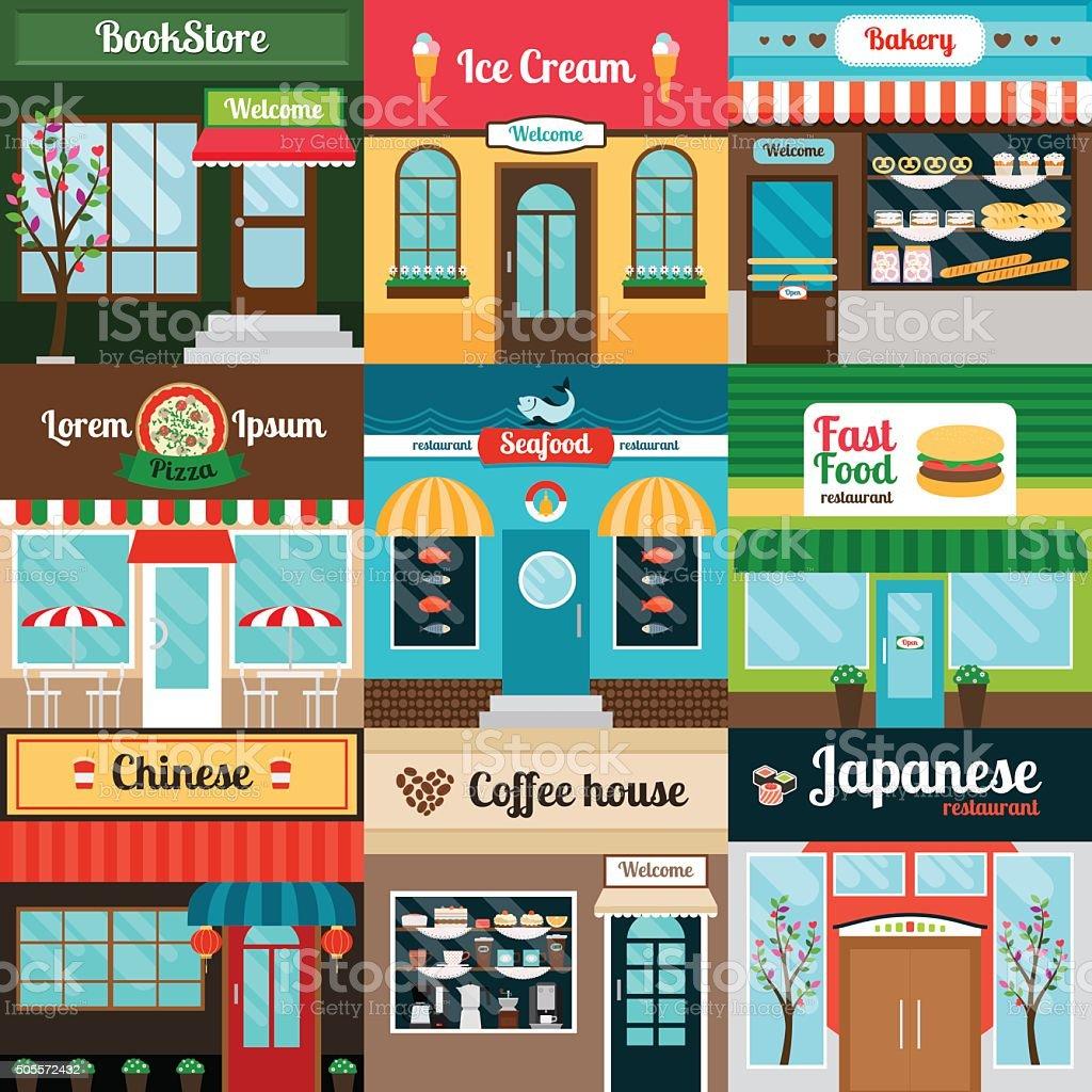 Different kind of food restaurants facade vector art illustration