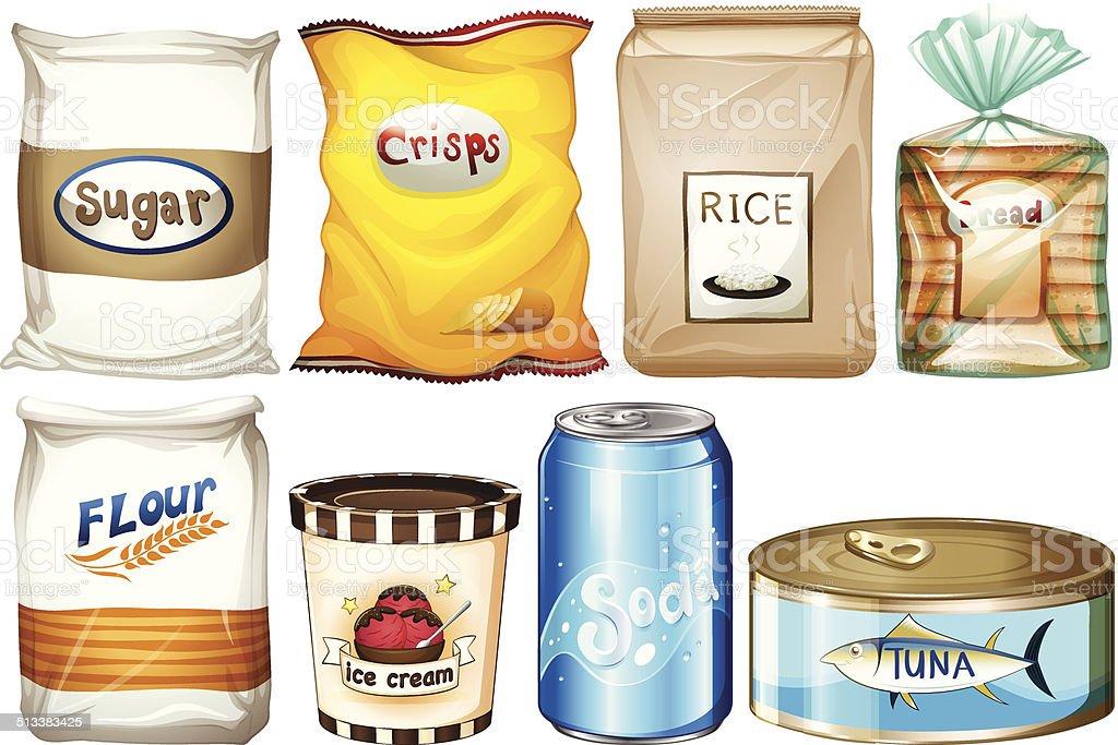 Different kind of foods vector art illustration