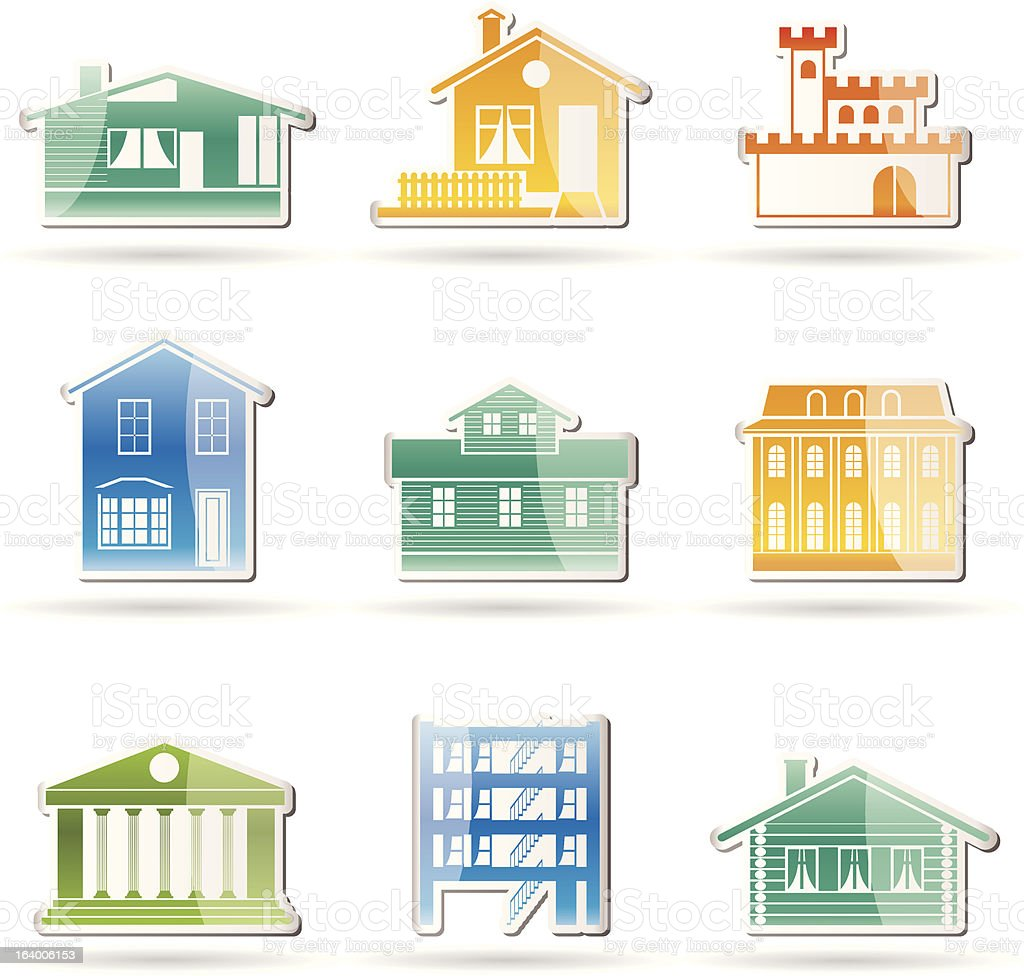 different kind of houses and buildings royalty-free stock vector art