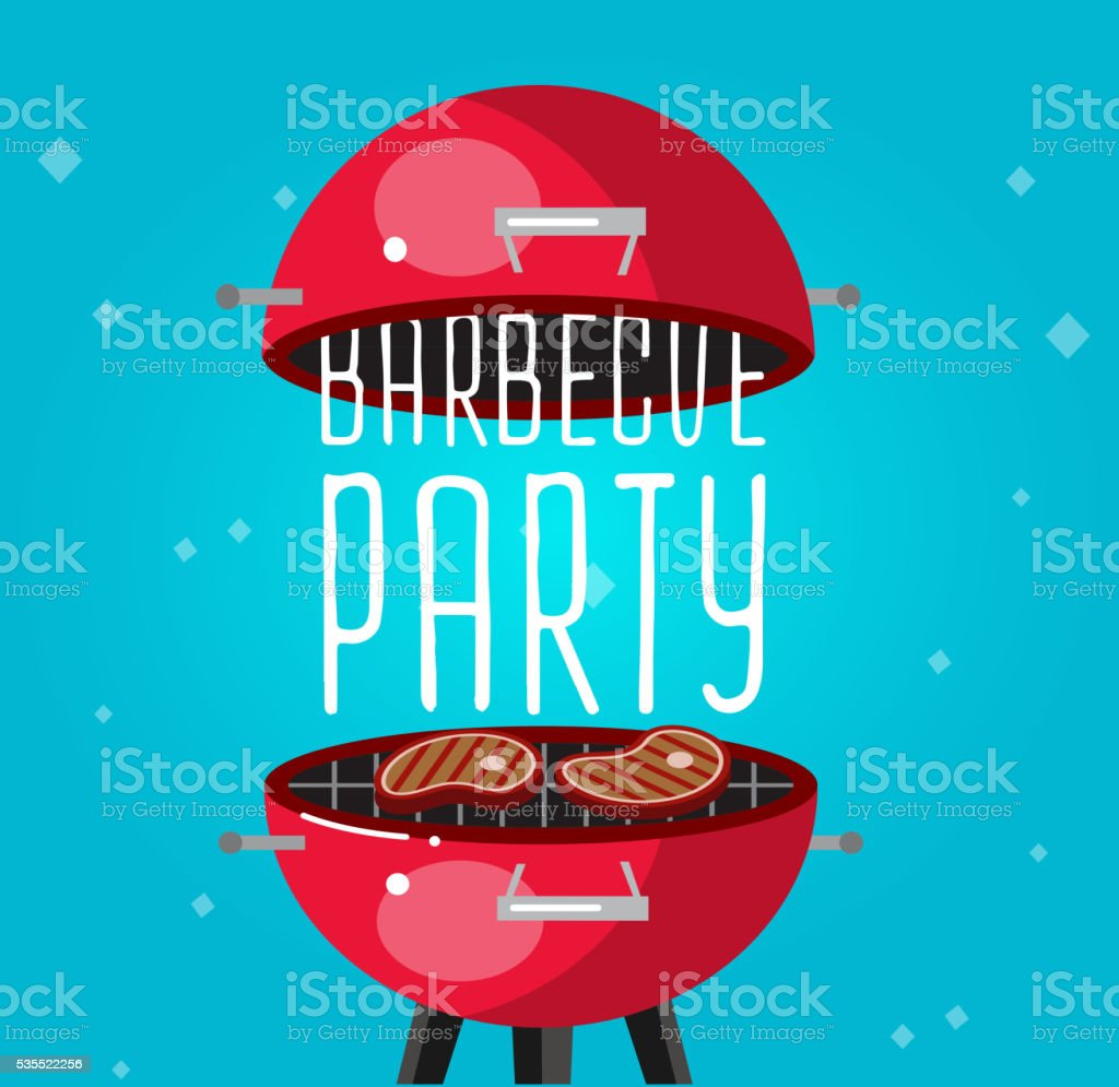 Different kind of meat on the grill illustration vector art illustration