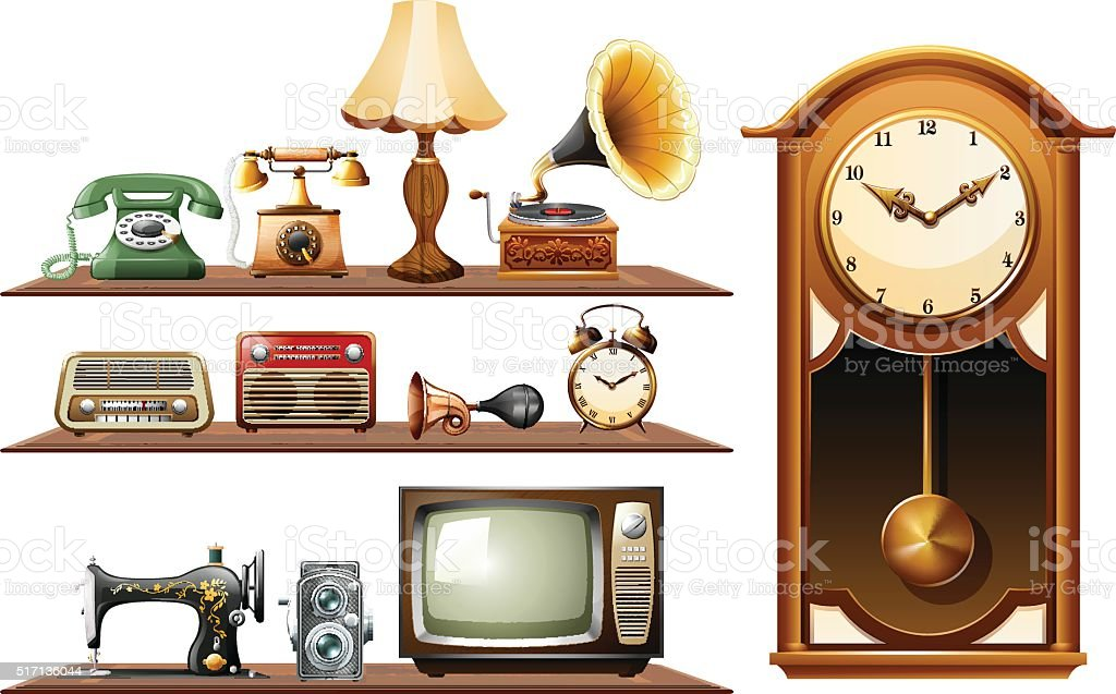 Different kind of vintage objects vector art illustration