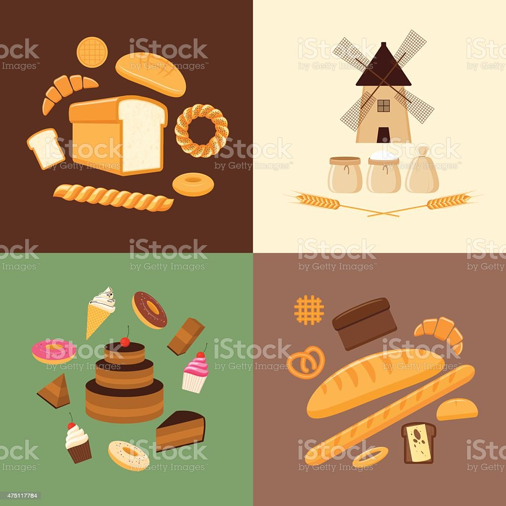 Different kinds of bread, sweet pastries and bakery products vector art illustration