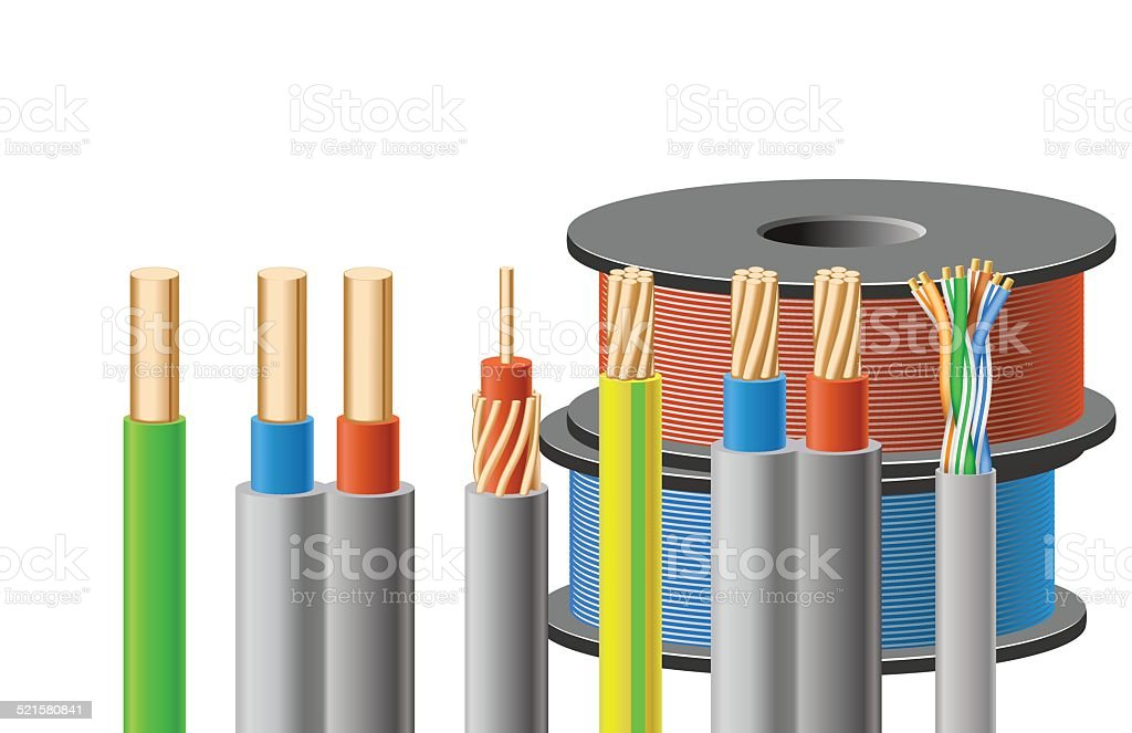 Different kinds of cables. vector art illustration