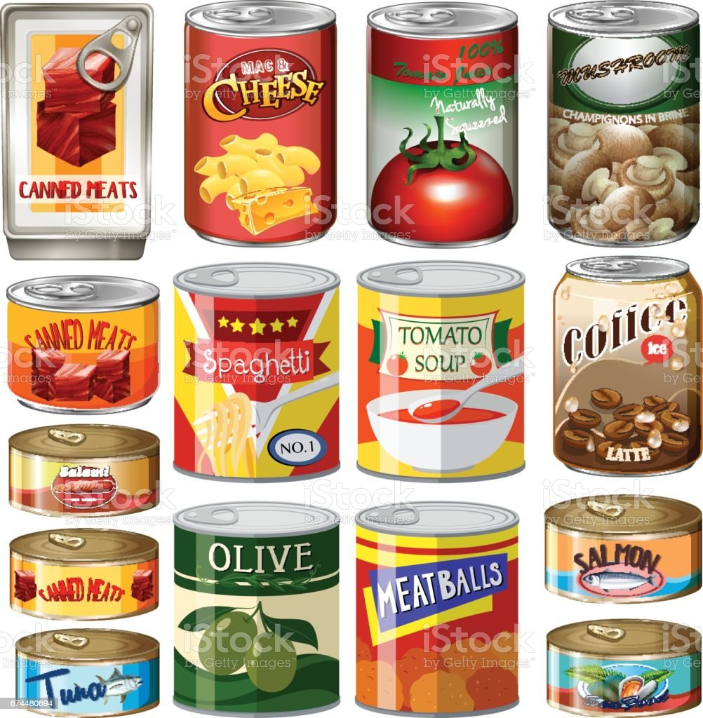 Different kinds of food in can vector art illustration
