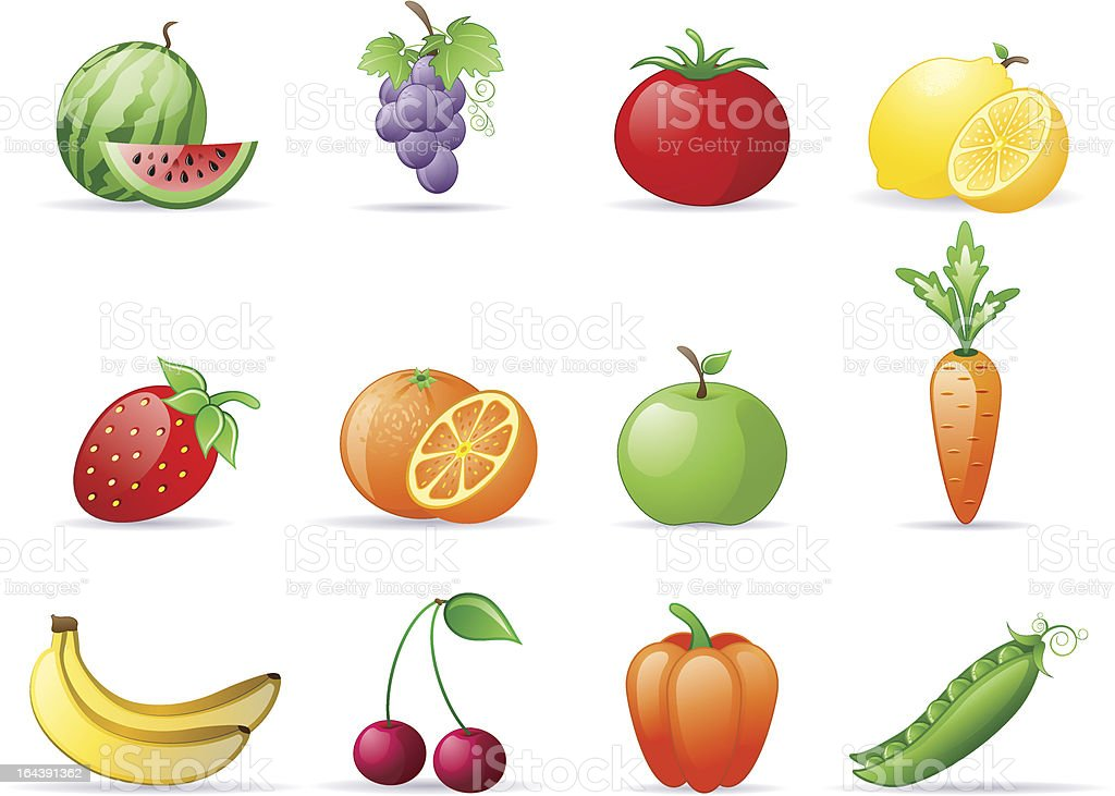 12 different kinds of fruits and vegetables royalty-free stock vector art