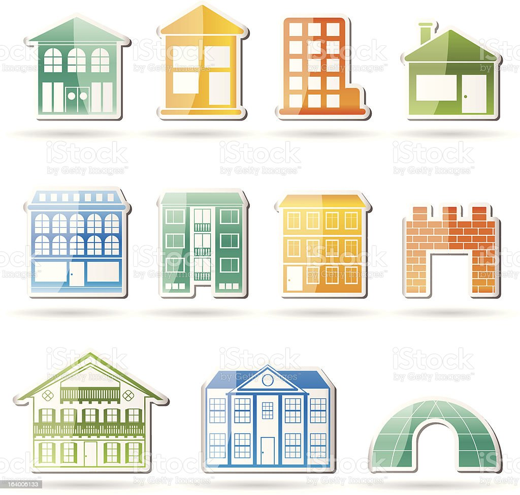 Different kinds of houses and buildings stock vector art for Tipos de casas
