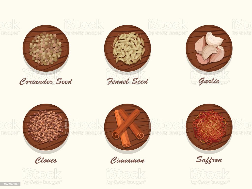 Different kinds of spices on wooden board. vector art illustration