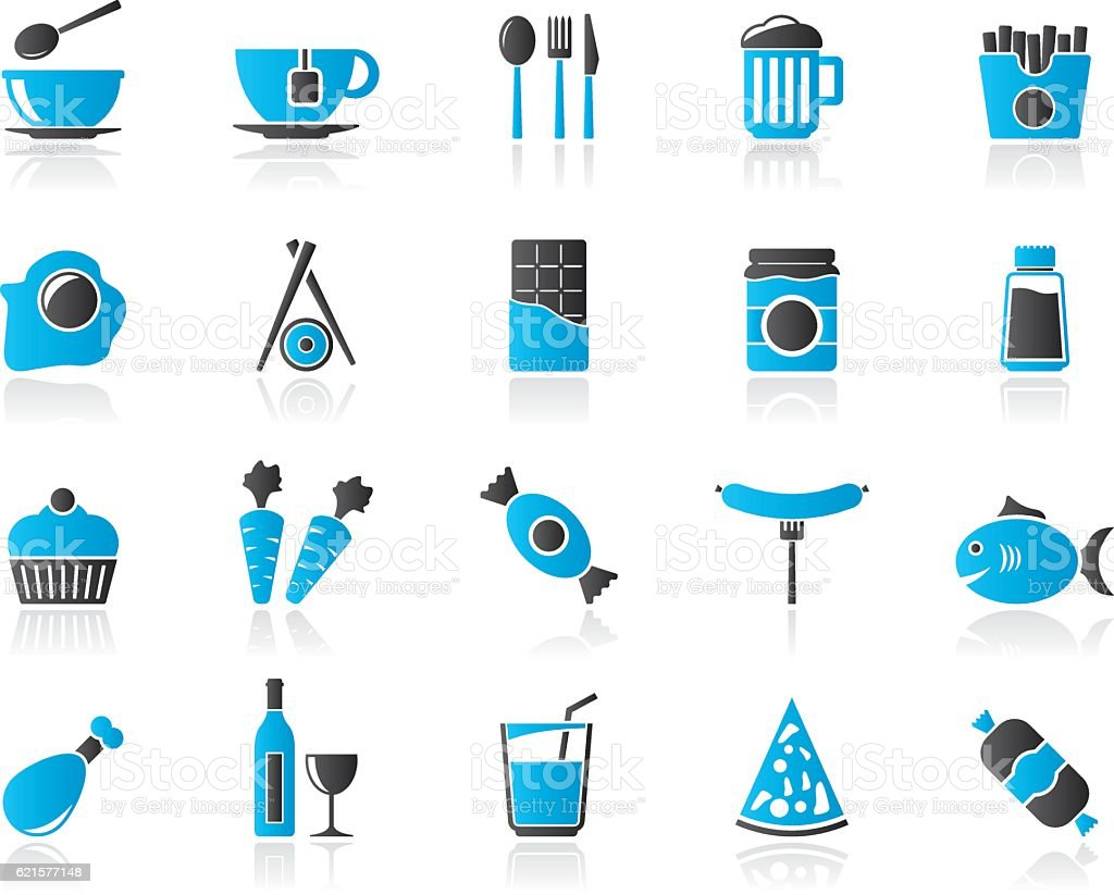 Different king of food and drinks icons 1 vector art illustration