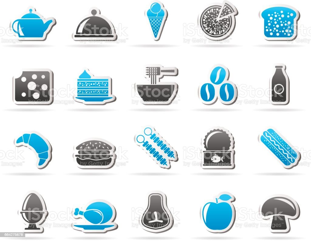Different king of food and drinks icons 2 - vector icon set