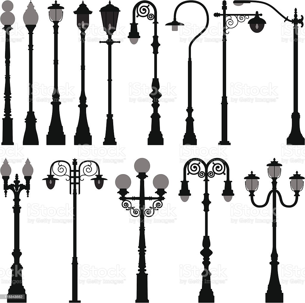 Different lamp light posts on a white background vector art illustration