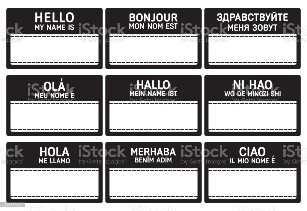 Different languages name tag with copy space. vector art illustration