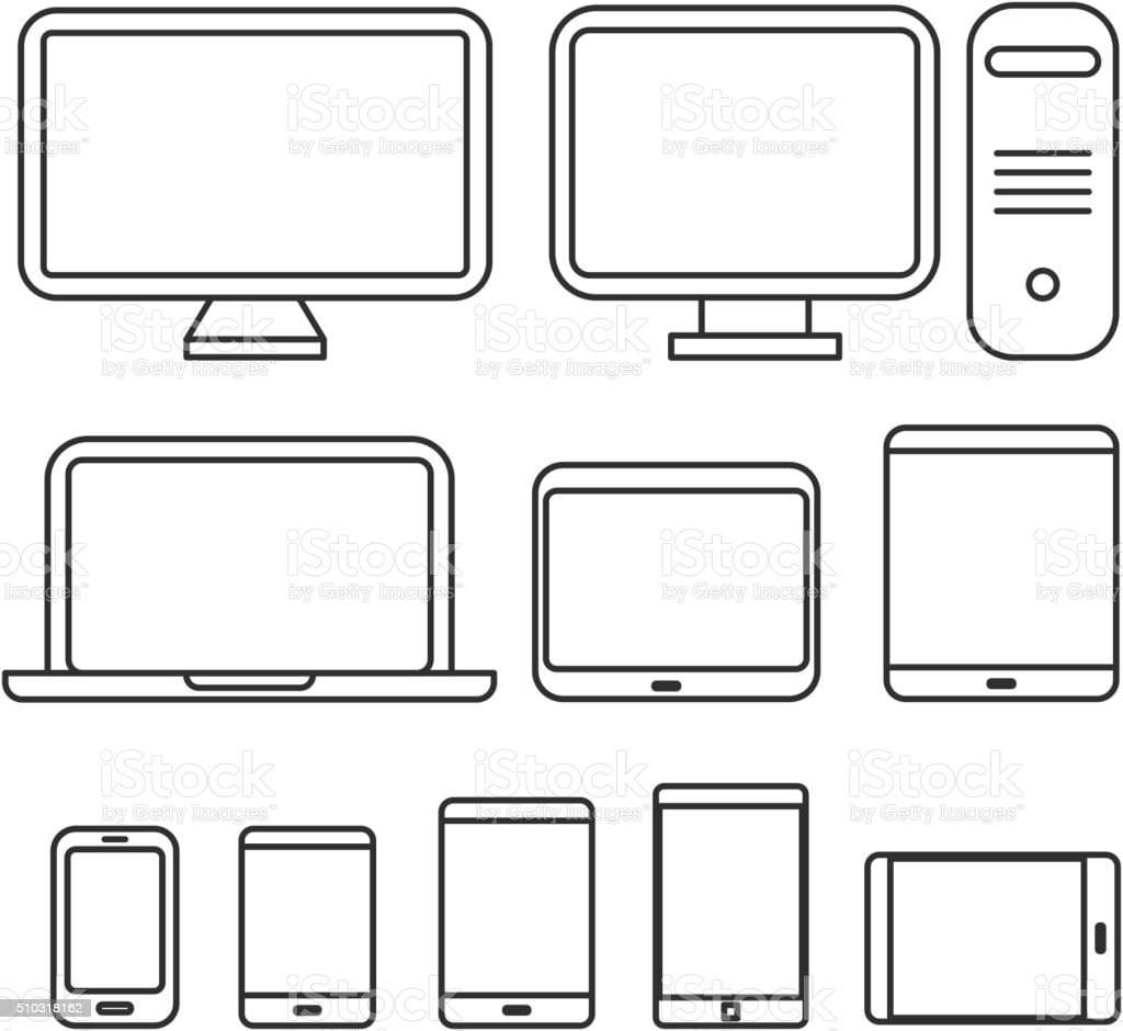 Different media devices collection vector art illustration