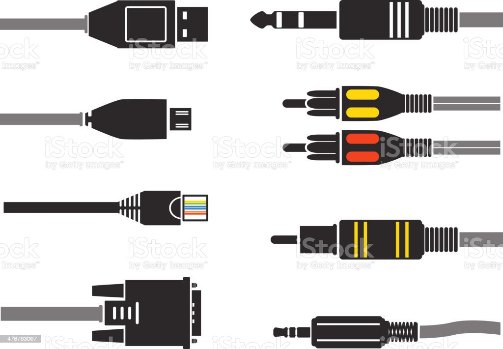 Different modern connection plugs vector art illustration