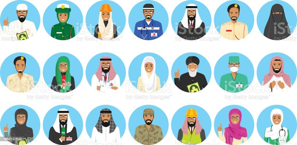 Set of colorful different Middle East people occupation characters in...