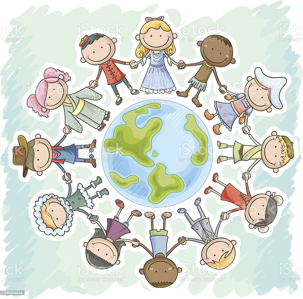 Different nationality kids holding hands, standing around the earth royalty-free stock vector art