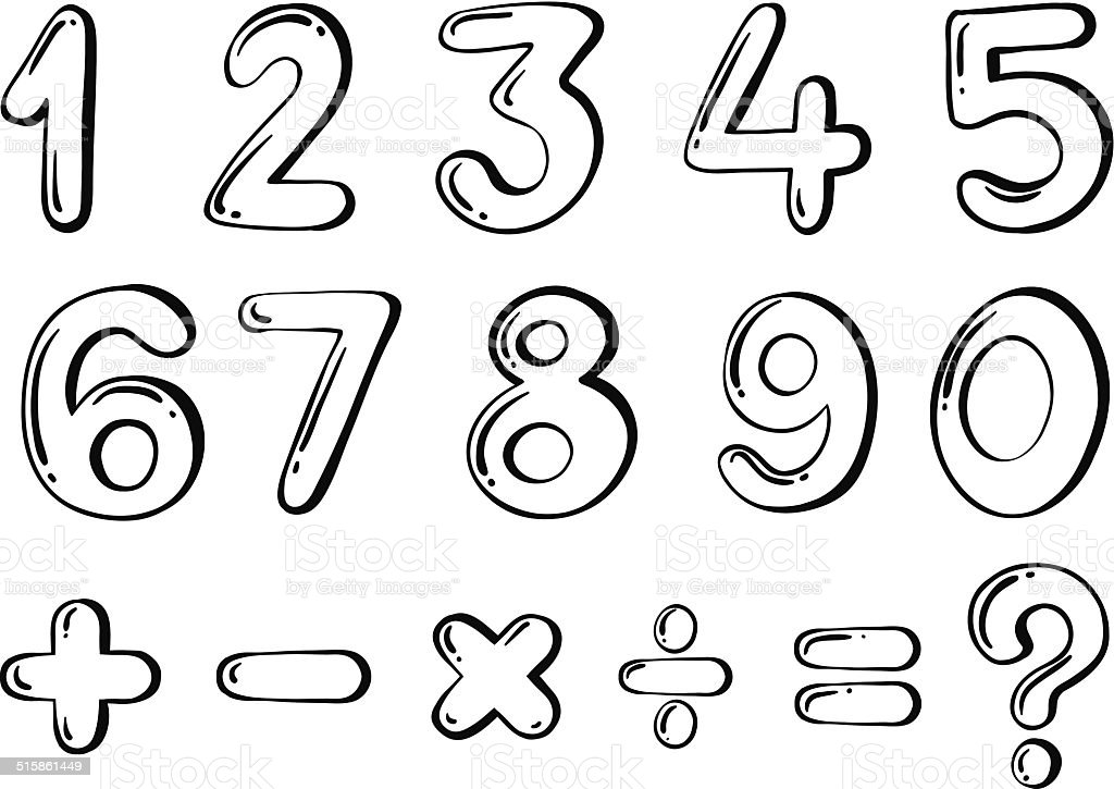 Different numerical figures vector art illustration