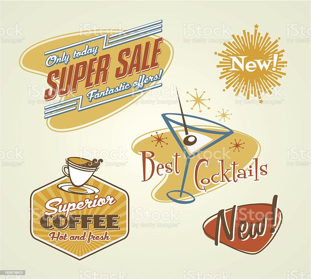Different Offer Stickers vector on red, orange, blue, white vector art illustration
