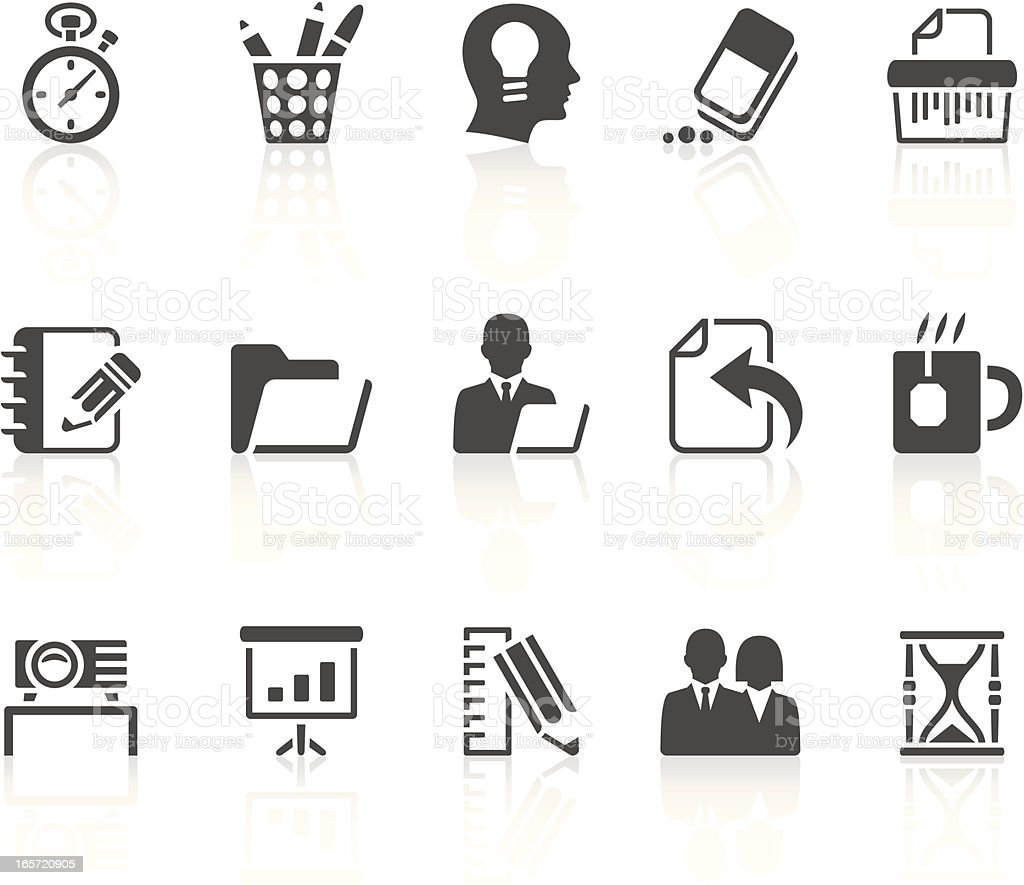 Different office and business icons royalty-free stock vector art