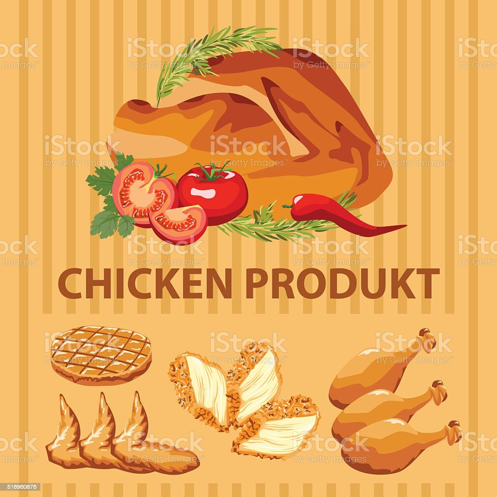different parts chicken product vector art illustration
