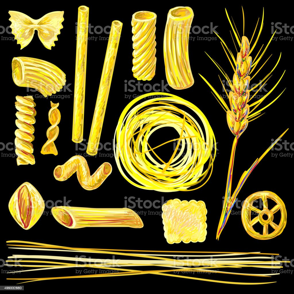 Different pasta shapes set vector illustration vector art illustration