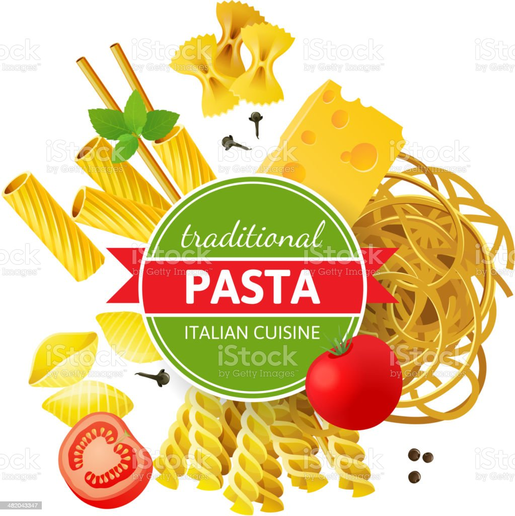 Different pasta types, tomatoes, mint and spices over white background royalty-free stock vector art