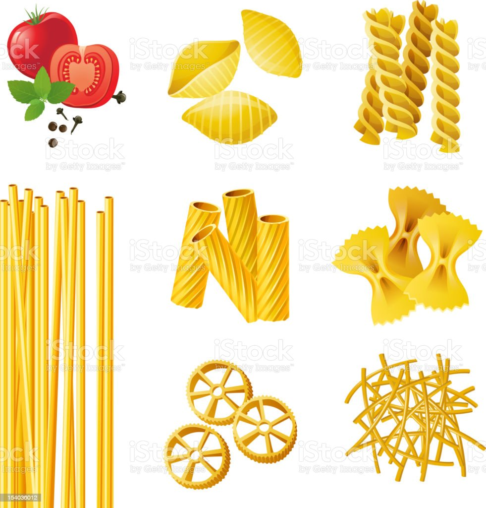 different pasta types vector art illustration