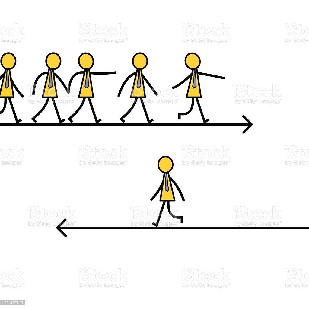 Different path vector art illustration