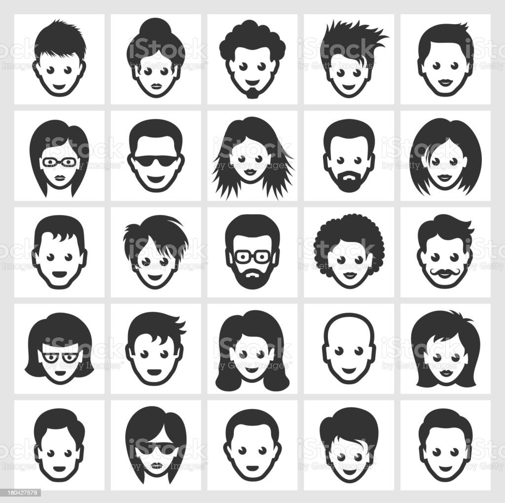 Different People Faces and Hairstyles Black & White Set vector art illustration