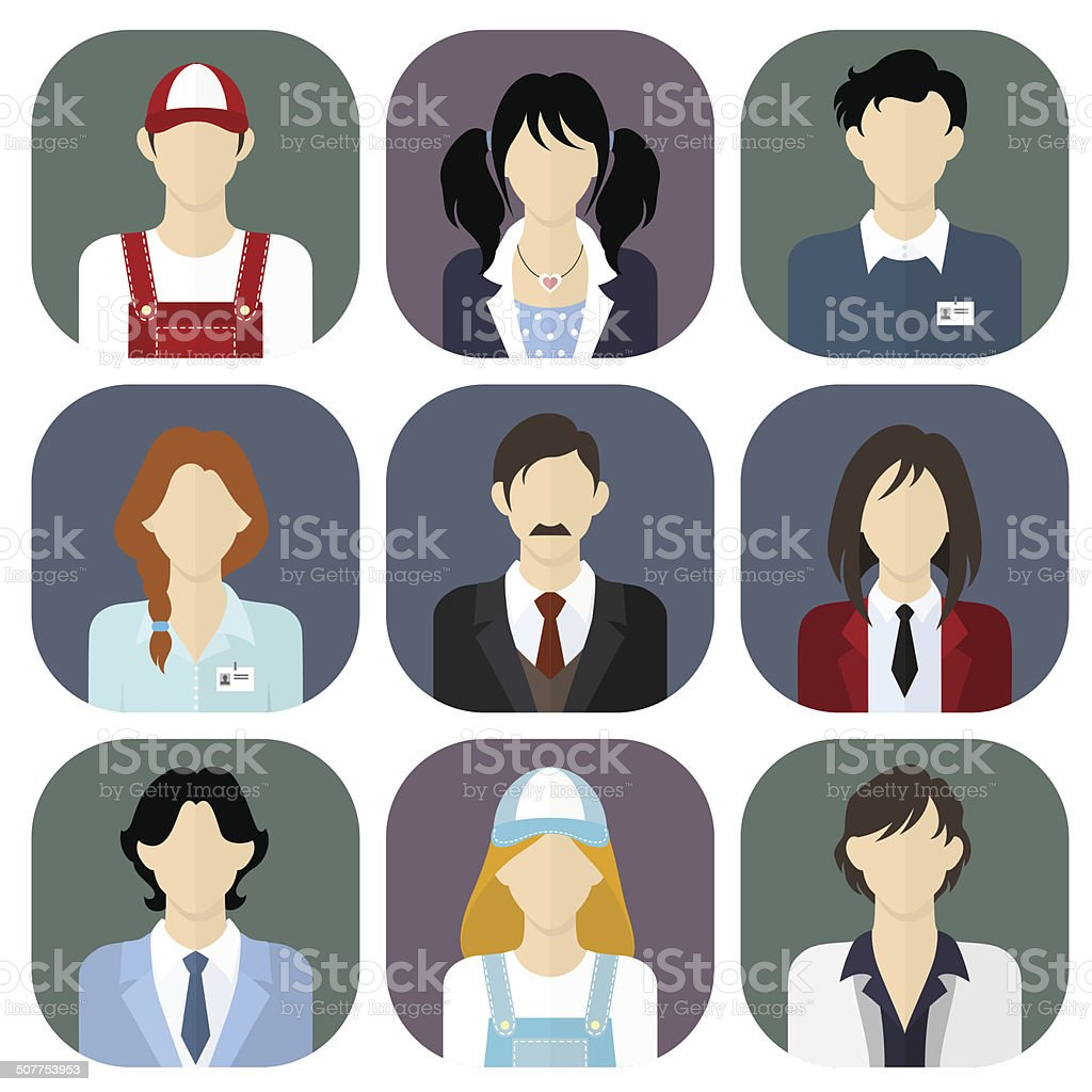 Different people icons vector art illustration