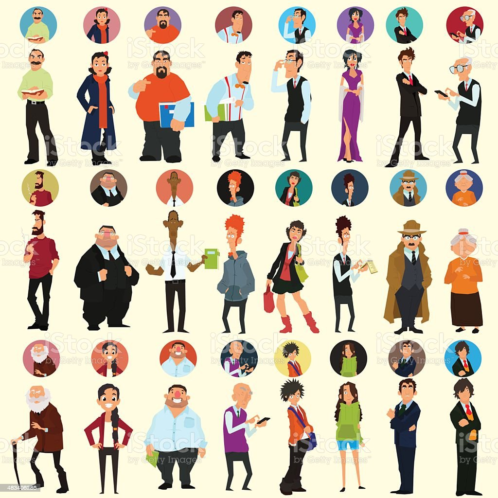 different people in full-length and different poses vector art illustration