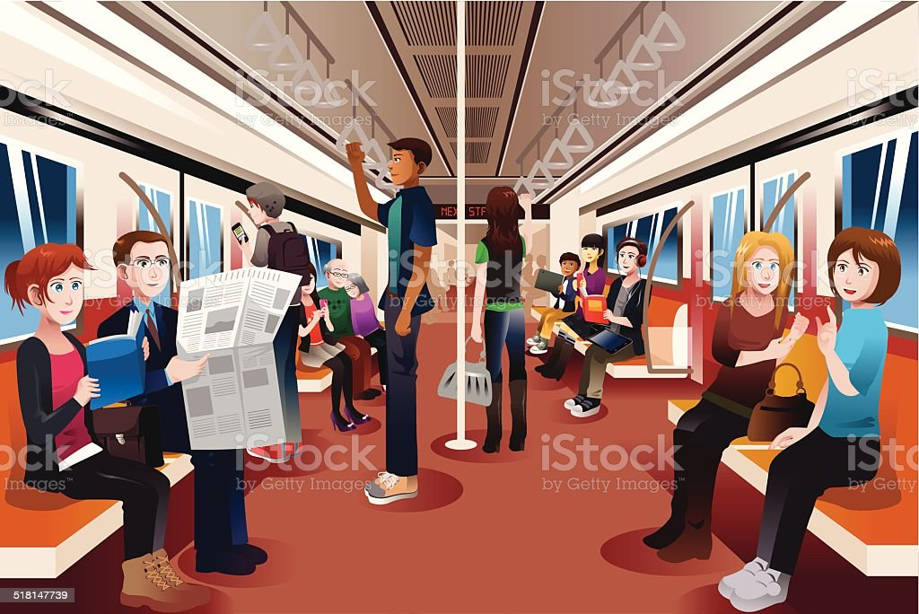 Different people inside crowded subway vector art illustration