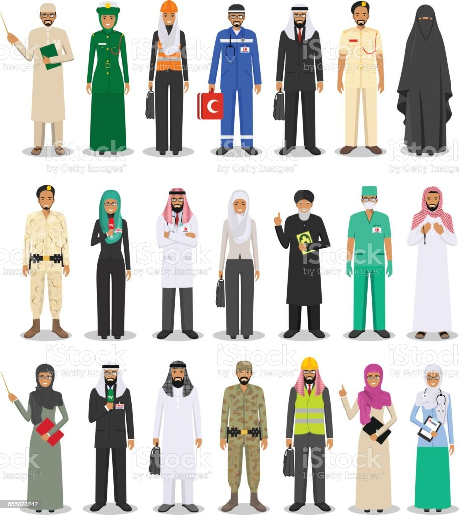 Different people professions occupation characters man and woman set in flat style isolated on white background. Templates for infographic, sites, banners, social networks. Vector illustration vector art illustration