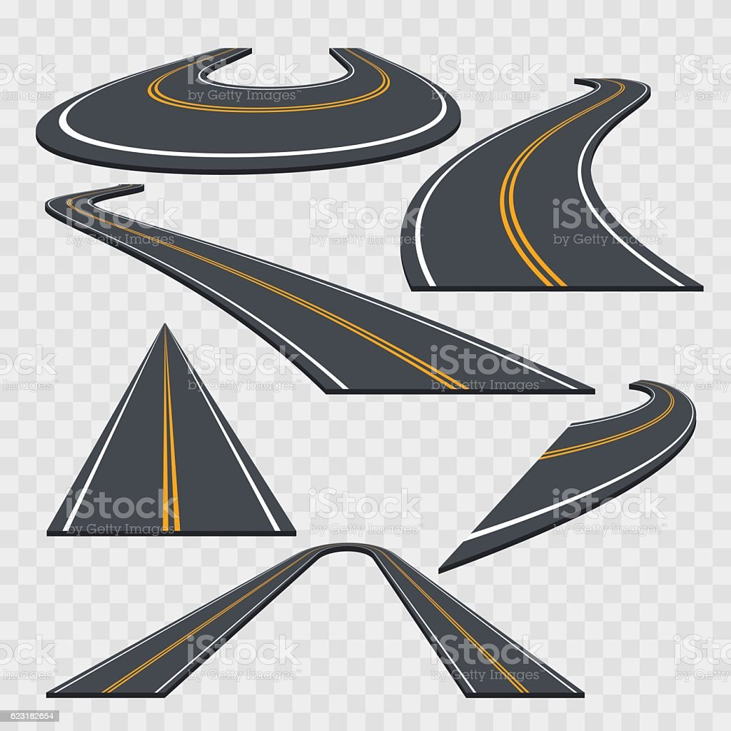 Different Perspective Curved Road Set. Vector vector art illustration