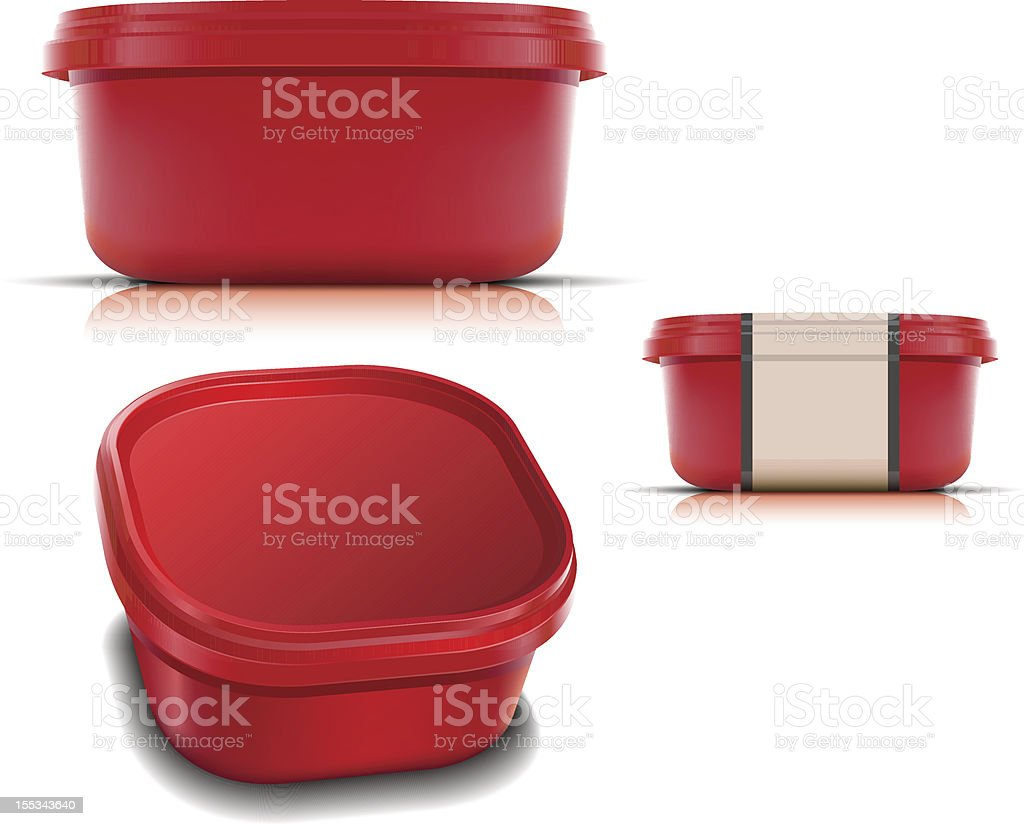 Different perspectives of the same red plastic container vector art illustration