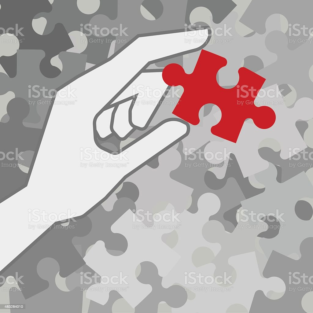 Different piece of puzzle vector art illustration