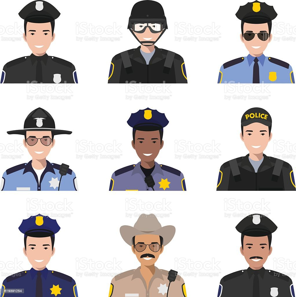 Different policeman characters avatars icons set in flat style. Vector. vector art illustration