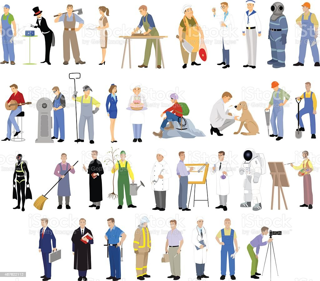 Different professions set vector art illustration