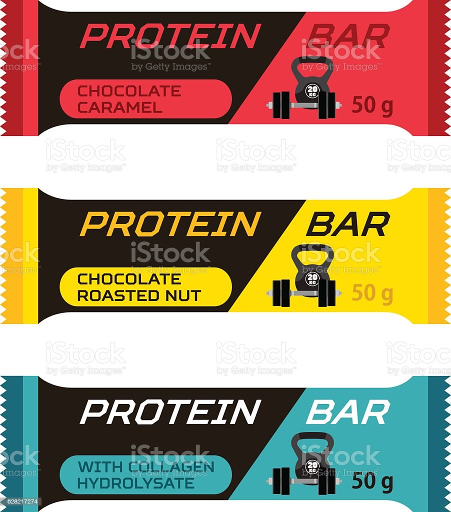 Different protein bars, sport collagen supplement in flat style. vector art illustration