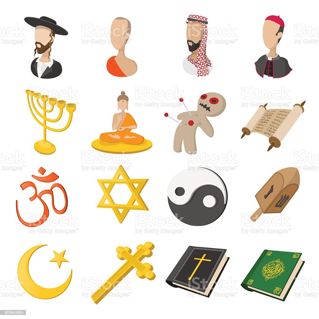 Different religions cartoon icons set vector art illustration