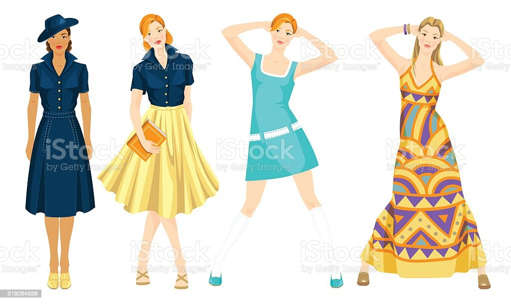 Different retro style of clothes vector art illustration
