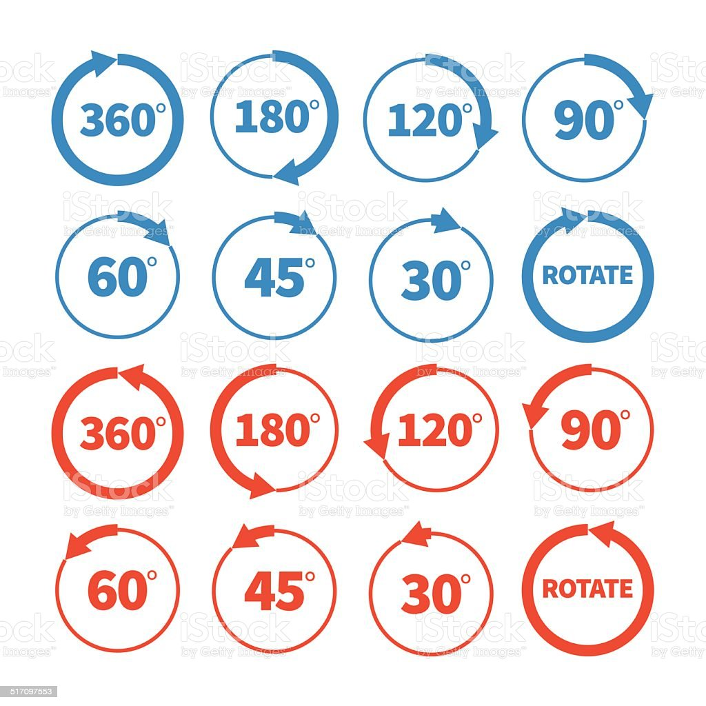 Different rotation angles vector icon set vector art illustration